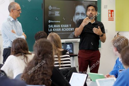 US mathematician and engineer Salman Khan (R), winner of 2019 Princess of Asturias for International Cooperation Award, delivers a speech as he visits to Inmaculada School on the eve of Princess of Asturias awarding ceremony, in Gijon, Asturias, northern Spain, 17 October 2019. The Princess of Asturias awarding ceremony will be held at Oviedo's Teatro Campoamor theater chaired by Spain's crown Princess Leonor.