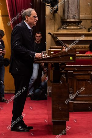Stock Picture of Joaquim Torra president of Catalonia during the plenary session