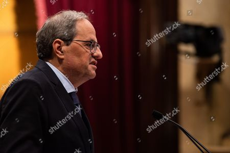 Editorial photo of Catalan regional President appears at Catalan Parliament, Barcelona, Spain - 17 Oct 2019