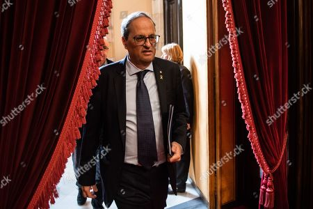 Stock Image of Joaquim Torra president of Catalonia during the plenary session