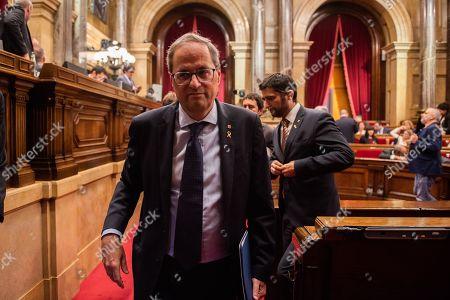 Stock Photo of Joaquim Torra president of Catalonia during the plenary session