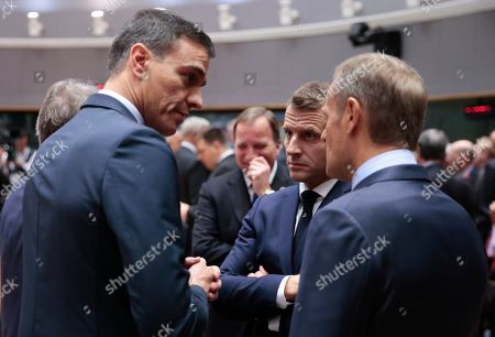 Spanish Primer Minister Pedro Sanchez ,  French President Emmanuel Macron and  President of the European Council, Donald Tusk during a Brexit summit in Brussels, Belgium, 17 October 2019. According to reports, the EU and the British government have reached a deal for Brexit.