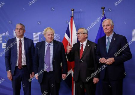 President of the European Comission Jean-Claude Juncker (2-R), British Prime Minister Boris Johnson (2-L) and Brexit Secretary Stephen Barclay (L) and European Union chief Brexit negotiator Michel Barnier (R) during a press conference on the Brexit deal in Brussels, Belgium, 17 October 2019. According to reports, the EU and the British government have reached a deal for Brexit.