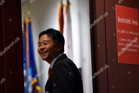 Rep. Ted Lieu, D-Calif., walks into the area on Capitol Hill in Washington, where U.S. Ambassador to the European Union Gordon Sondland is being interviewed as part of the impeachment inquiry