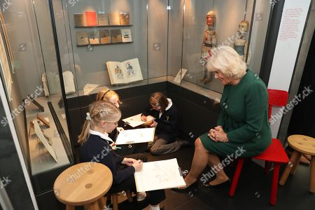 Camilla Duchess of Cornwall meets pupils from the Ditchling (St Margaret's) CE Primary and Nursery school during a visit to the Ditchling Museum of Art + Craft in Sussex, to view their Typography exhibition 'Kitching in Ditchling' and the new exhibition Disruption, Devotion + Distributism.