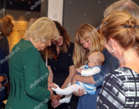 Camilla Duchess of Cornwall meets Lucy and her baby Martha during a visit to the Ditchling Museum of Art + Craft in Sussex, to view their Typography exhibition 'Kitching in Ditchling' and the new exhibition Disruption, Devotion + Distributism.