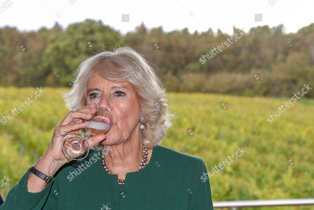 Camilla Duchess of Cornwall, President of Wine GB, participates in some wine tasting during a visit to the new winery at Bolney Wine Estate in Haywards Heath, Sussex.