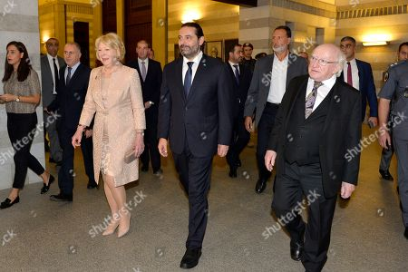 Lebanese Prime Minister Saad Hariri (C) welcomes President of Ireland Michael D Higgins (R) and his wife Sabina Mary (L), at the Government Palace in downtown Beirut, Lebanon, 17 October 2019. Higgins arrived in Beirut with his wife on 16 October 2019 for a two-day official visit to meet with Lebanese officials.