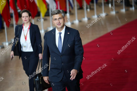 Croatia's Prime Minister Andrej Plenkovic arrives for an EU summit at the Europa building in Brussels, . Britain and the European Union reached a new tentative Brexit deal on Thursday, hoping to finally escape the acrimony, divisions and frustration of their three-year divorce battle