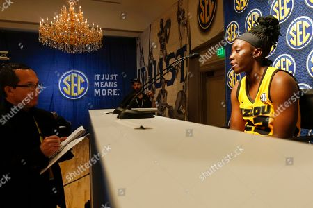Missouri's Amber Smith speaks during the Southeastern Conference NCAA college basketball media day, in Birmingham, Ala