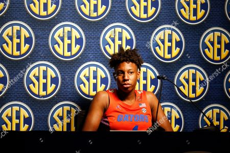 Florida's Kiki Smith speaks during the Southeastern Conference NCAA college basketball media day, in Birmingham, Ala