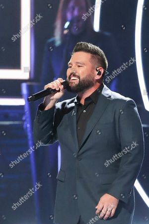 Stock Photo of Shay Mooney, Dan and Shay. Shay Mooney of Dan and Shay performs at 2019 CMT Artists of the Year at Schermerhorn Symphony Center, in Nashville, Tenn