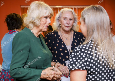 Camilla Duchess of Cornwall meets support staff during a visit to the Rape Crisis Centre for Surrey and Sussex on October 17, 2019 in Crawley, United Kingdom. The visit marks the 10th year anniversary since the Duchess first visited the Rape Crisis Centre in south London based in Croydon in November 2009.