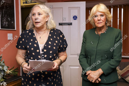 Yvonne Traynor (L), CEO of Rape Crisis Centre for Surrey and Sussex (RCSAS) makes a speech during a visit by Camilla Duchess of Cornwall on October 17, 2019 in Crawley, United Kingdom. The visit marks the 10th year anniversary since the Duchess first visited the Rape Crisis Centre in South London based in Croydon in November 2009.