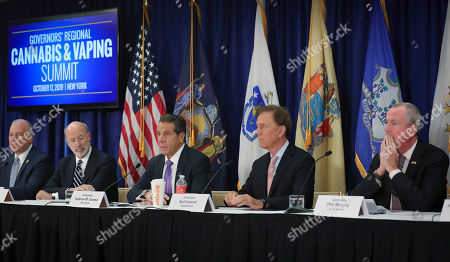 Stock Image of Pennsylvania Gov. Tom Wolf, second from left, New York Gov. Andrew Cuomo, center, Connecticut Gov. Ned Lamont, second from right, and New Jersey Gov. Phil Murphy, far right, co-host a regional summit on public health issues around cannabis and vaping, in New York