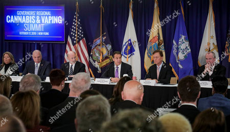 Pennsylvania Gov. Tom Wolf, third from left, New York Gov. Andrew Cuomo, center, Connecticut Gov. Ned Lamont, second from right, and New Jersey Gov. Phil Murphy, right, co-host a regional summit on public health issues around cannabis and vaping, in New York