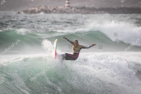 Hawaiian surfer Carissa Moore in action during the first heat of the World Surfing Championship that takes place in Praia dos Supertubos in Peniche, Portugal, 17 October 2019.