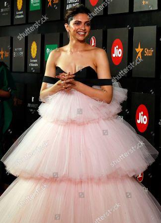 Bollywood actress Deepika Padukone poses during the opening ceremony of the 21st MAMI Mumbai film festival in Mumbai, India