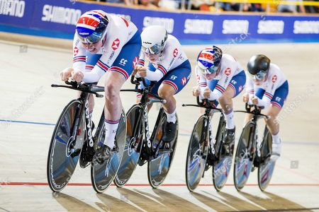 British team, Katie Archibald, Eleanor Dickinson, Neah Evans and Laura Kenny in action during the final women's team pursuit at the European Championship Track Cycling in Apeldoorn, The Netherlands, 17 October 2019.