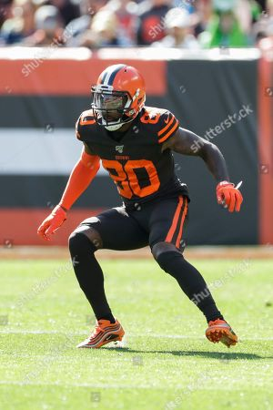 Stock Picture of Cleveland Browns wide receiver Jarvis Landry (80) plays against the Seattle Seahawks during the first half of an NFL football game, in Cleveland
