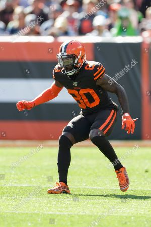 Stock Photo of Cleveland Browns wide receiver Jarvis Landry (80) plays against the Seattle Seahawks during the first half of an NFL football game, in Cleveland