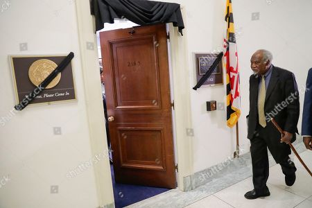 Stock Image of Rep. Danny Davis, D-Ill., walks past the office of Rep. Elijah Cummings, D-Md., who passed away earlier this morning