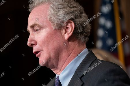 Stock Photo of Democratic Senator from Maryland Chris Van Hollen speaks to the media about imposing sanctions on Turkey for their incursion against the Kurds in the US Capitol in Washington, DC, USA, 17 October 2019. The incursion followed President Trump's decision to withdraw US troops from northern Syria.