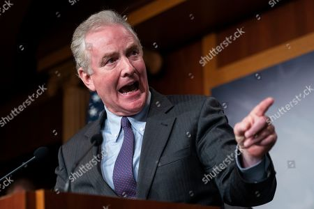 Stock Picture of Democratic Senator from Maryland Chris Van Hollen speaks to the media about imposing sanctions on Turkey for their incursion against the Kurds in the US Capitol in Washington, DC, USA, 17 October 2019. The incursion followed President Trump's decision to withdraw US troops from northern Syria.