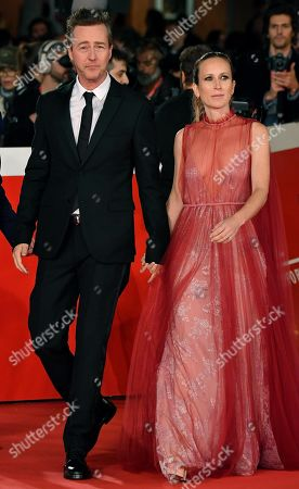 Edward Norton (L) and his wife Shauna Robertson (R) arrive for the screening of his movie 'Motherless Brooklyn' at the 14th annual Rome Film Festival, in Rome, Italy, 17 October 2019. The film festival runs from 17 to 27 October.
