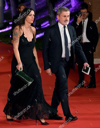 Former mayor of Rome Gianni Alemanno (R) and a guest arrive for the screening of the movie 'Motherless Brooklyn' at the 14th annual Rome Film Festival, in Rome, Italy, 17 October 2019. The film festival runs from 17 to 27 October.