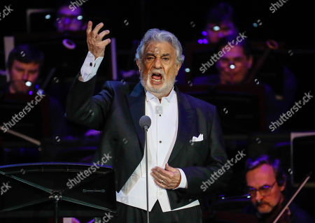 Spanish tenor Placido Domingo performs during a concert at the Crocus City Hall in Moscow, Russia 17 October 2019. The concert with the orchestra Novaya Rossiya (New Russia) was conducted by Eugene Kohn.