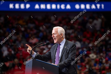 Sen. John Cornyn, R-Texas, speaks during a campaign rally for President Donald Trump, at the American Airlines Center in Dallas