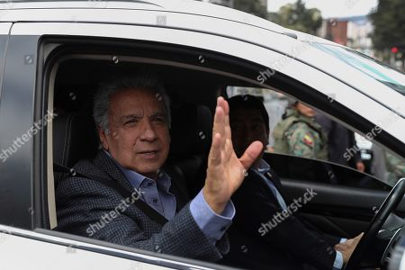 Ecuador's President Lenin Moreno (C) visits the affected zones after demonstrations near to the National Assembly and General Contralory of the State and talked with the sector traders in Quito, Ecuador, 17 October 2019.