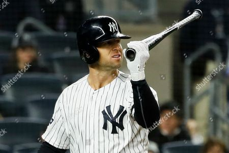 New York Yankees' Brett Gardner reacts after striking out against the Houston Astros during the eighth inning in Game 4 of baseball's American League Championship Series, in New York