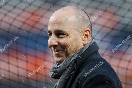 Stock Photo of New York Yankees General Manager Brian Cashman watches batting practice before Game 4 of baseball's American League Championship Series against the Houston Astros, in New York