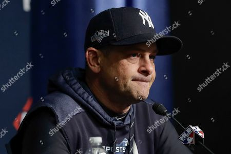 New York Yankees manager Aaron Boone answers questions during a news conference before Game 4 of baseball's American League Championship Series against the Houston Astros, in New York