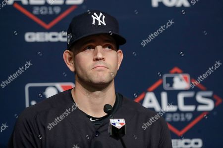 New York Yankees starting pitcher James Paxton answers questions during a news conference before Game 4 of baseball's American League Championship Series against the Houston Astros, in New York