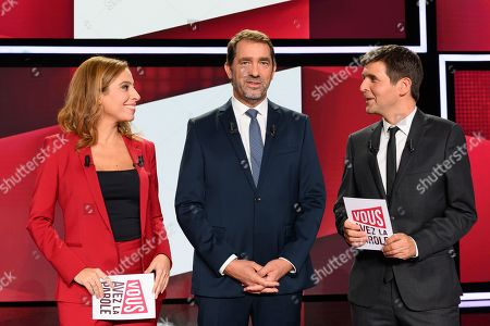 Lea Salame, Christophe Castaner and Thomas Sotto