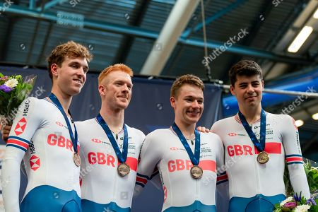 Ollie Wood, Ethan Hayter, Ed Clancy and Charlie Tanfield of Great Britain win Bronze in the Men's Team Pursuit final.