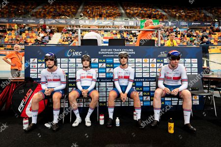 Laura Kenny, Ellie Dickinson, Neah Evans and Katie Archibald of Great Britain ahead of the Women's Team Pursuit final.