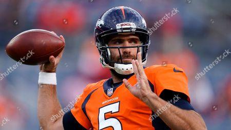 Denver Broncos quarterback Joe Flacco (5) warms up prior to an NFL football game against the Kansas City Chiefs, in Denver