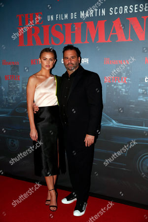 US film producer Randall Emmett and Lala Kent pose during a photocall for the French premiere of the film 'The Irishman' at the Cinematheque Francaise in Paris, France