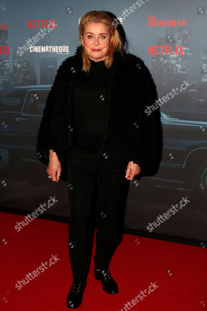 Stock Picture of French actress Catherine Deneuve poses during a photocall for the French premiere of the film 'The Irishman' at the Cinematheque Francaise in Paris, France