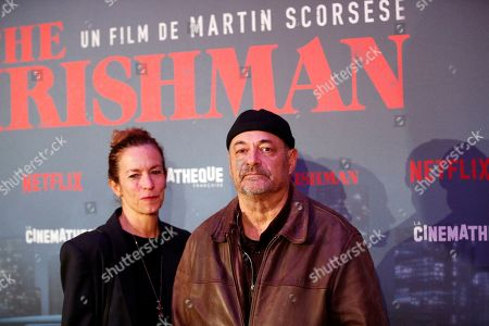 Stock Photo of French director Jean-Pierre Jeunet and his wife Liza Sullivan pose during a photocall for the French premiere of the film 'The Irishman' at the Cinematheque Francaise in Paris, France