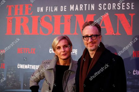 Producer Melita Toscan du Plantier, left, and US director James Gray pose during a photocall for the French premiere of the film 'The Irishman' at the Cinematheque Francaise in Paris, France