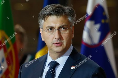 Croatia's Prime Minister Andrej Plenkovic arrives for a EU Summit in Brussels, Belgium, 18 October 2019. The European Union (EU) and the British government have reached a tentative Brexit deal that still must be ratified.