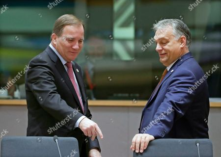Sweden's Prime Minister Stefan Lofven (L) and Hungary's Prime Minister Viktor Orban (R) attend the second day of a EU Summit in Brussels, Belgium, 18 October 2019. The European Union (EU) and the British government have reached a tentative Brexit deal that still must be ratified.