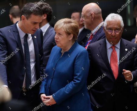 Spanish Primer Minister Pedro Sanchez (L), Germany Chancellor Angela Merkel (C) and Portugal's Prime Minister Antonio Costa (R) at second day of an EU summit in Brussels, Belgium, 18 October 2019. The European Union (EU) and the British government have reached a tentative Brexit deal that still must be ratified.