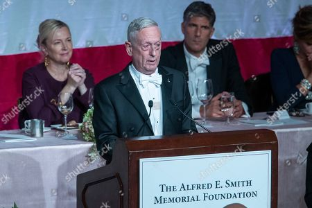 Former U.S. Secretary of Defense Jim Mattis, center, delivers the keynote address during the 74th Annual Alfred E. Smith Memorial Foundation Dinner, in New York
