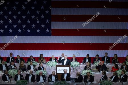 Stock Picture of Former U.S. Secretary of Defense Jim Mattis, center, delivers the keynote address during the 74th Annual Alfred E. Smith Memorial Foundation Dinner, in New York